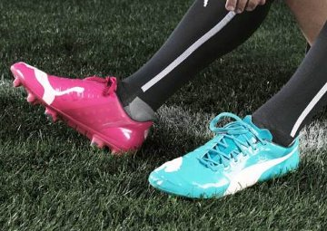 Puma's pink and blue shoes.