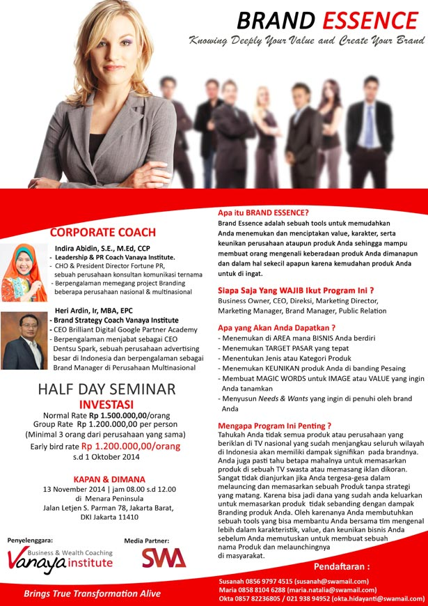 Half Day Seminar: BRAND ESSENCE, Knowing Deeply Your Value and Create Your Brand