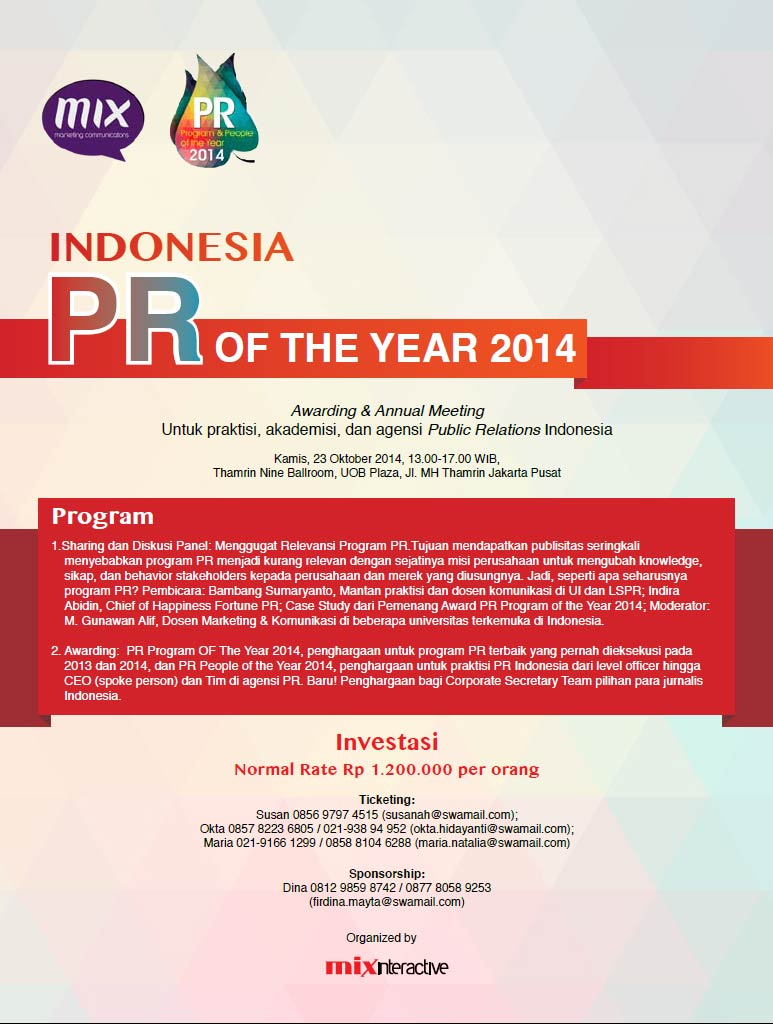 INDONESIA PR OF THE YEAR 2014