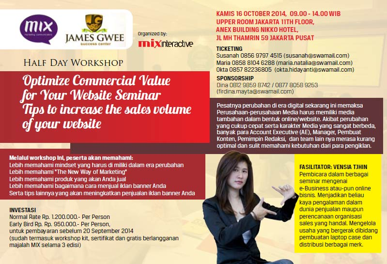 Half Day Workshop: Optimize Commercial Value for Your Website Seminar Tips to increase the sales volume of your website