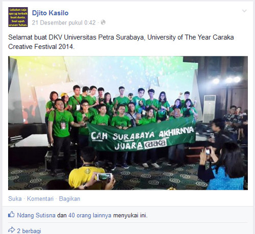"Fakultas DKV Universitas Petra Surabaya di ajang ""University of The Year Caraka Creative Festival 2014"""