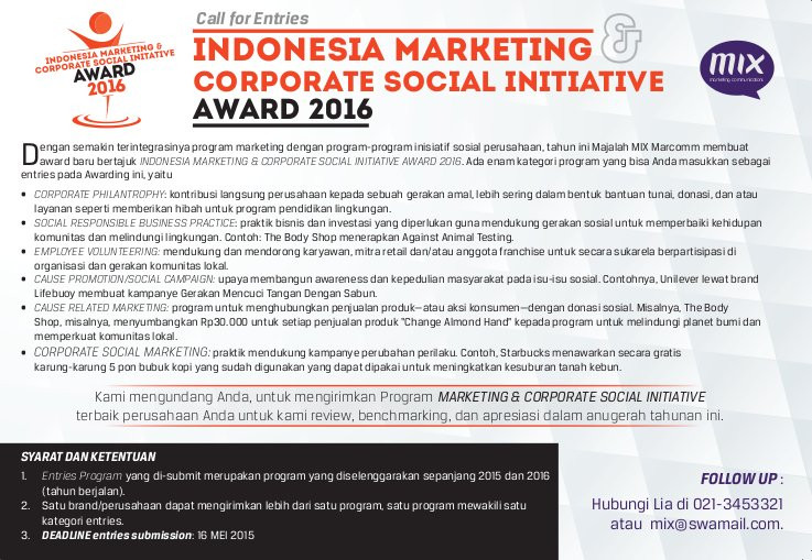 Call for Entries - Indonesia Marketing and Corporate Social Initiative Award